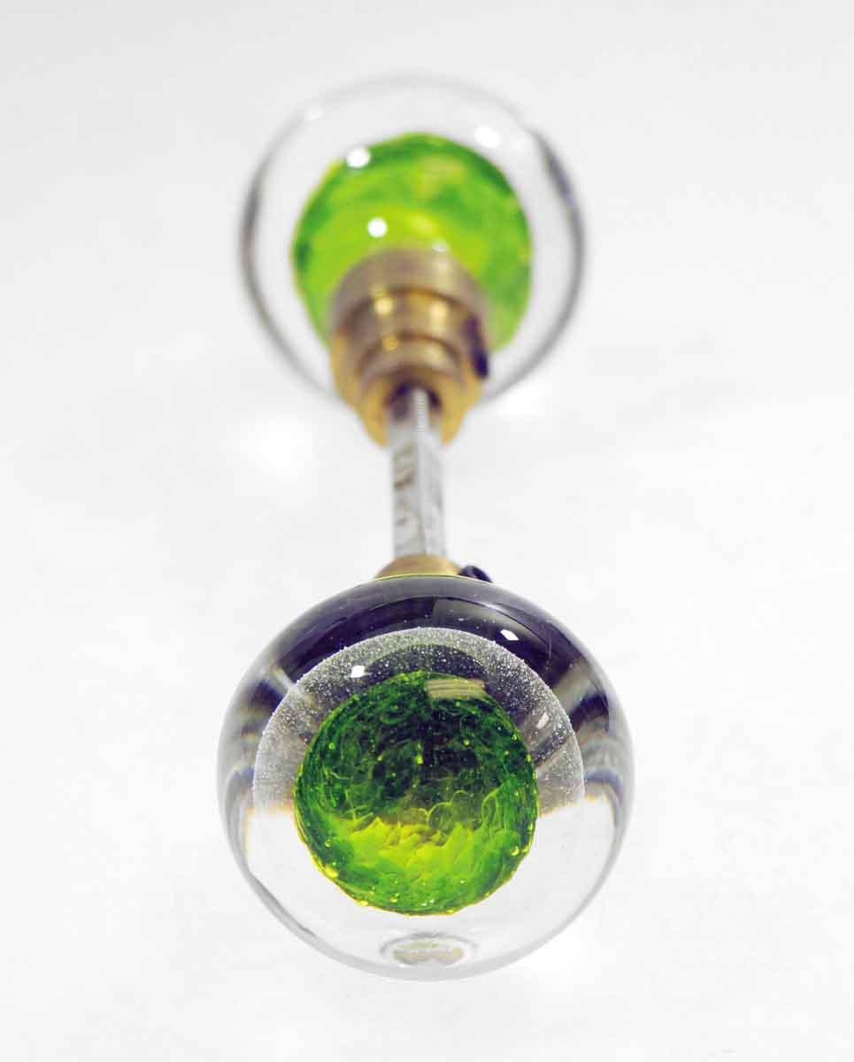 Vintage Blown Green Glass Knob