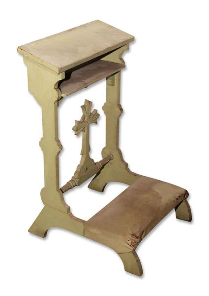 Green Prayer Kneeler with Carved Cross