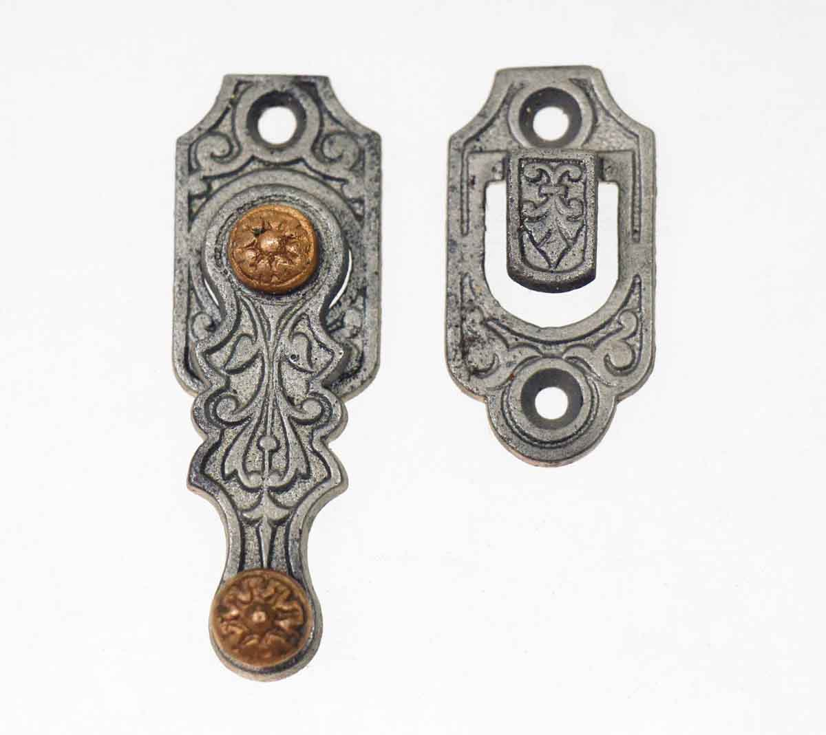 Iron Victorian Shutter Latch with Copper Detail