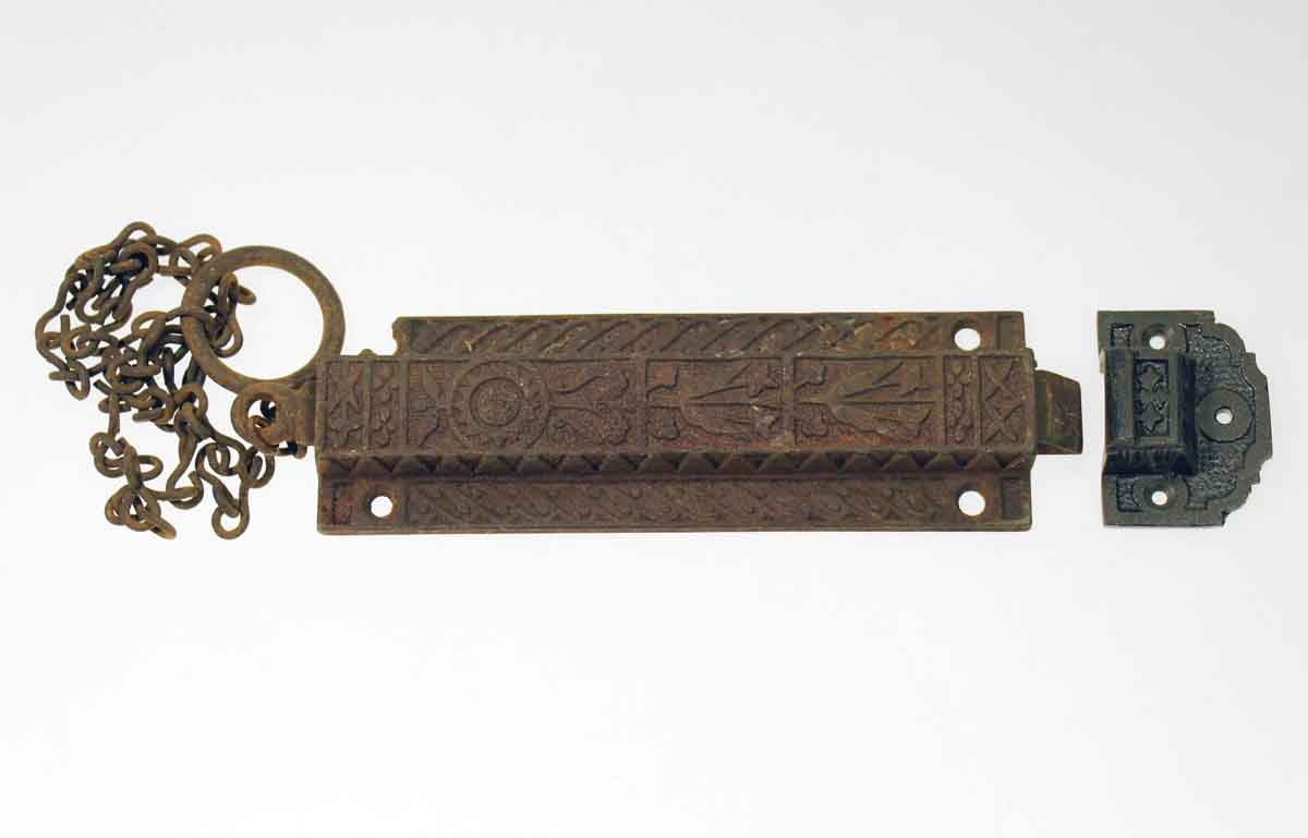 Bronze Floral Chain Latch