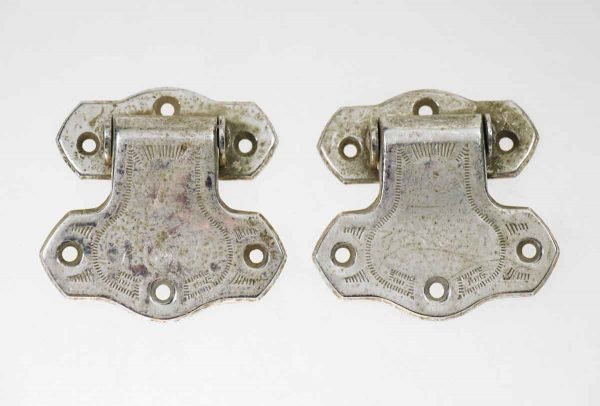 Pair of Chrome Plated Ice Box Hinges