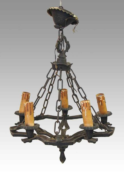 Black Hammered Iron Five Light Chandelier - Antique Chandeliers Olde Good Things