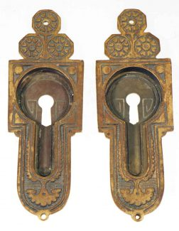 pair of egyptian pocket door plates