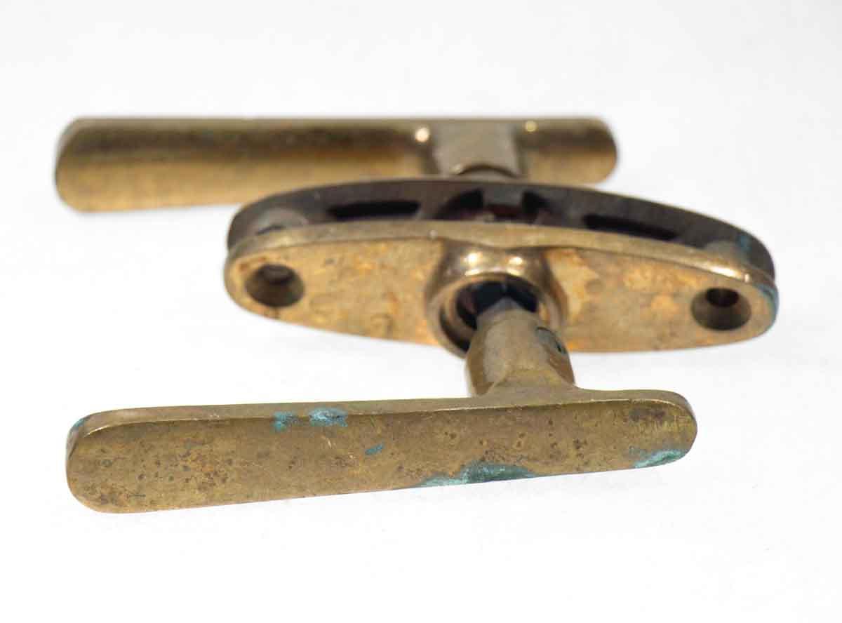 Mid Century Modern Bronze Lever Knob Set with Plates