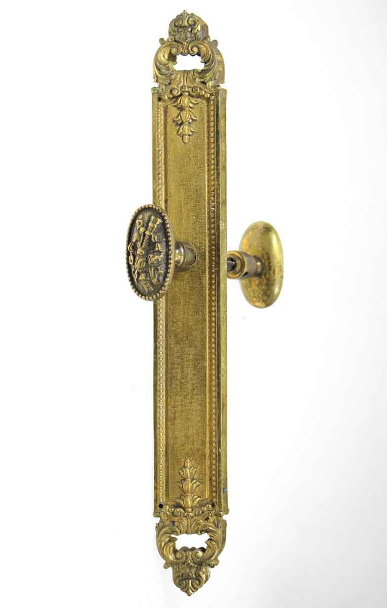 French Cast Brass Ornate Lever Knob Set