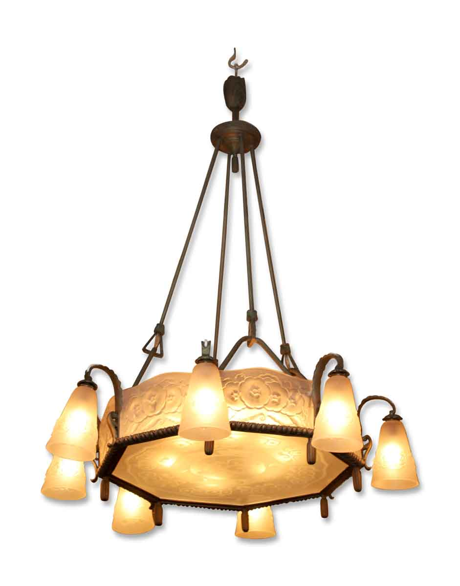 Muller Freres Art Nouveau Eight Light Chandelier