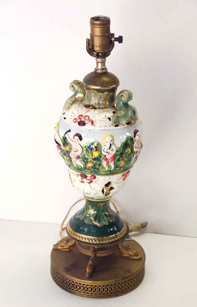 Figural Porcelain Colorful Table Lamp