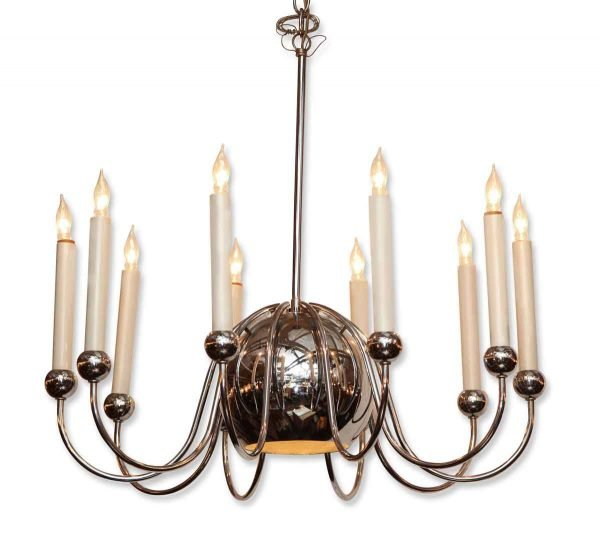 Mid Century Chrome Plated Brass Chandelier