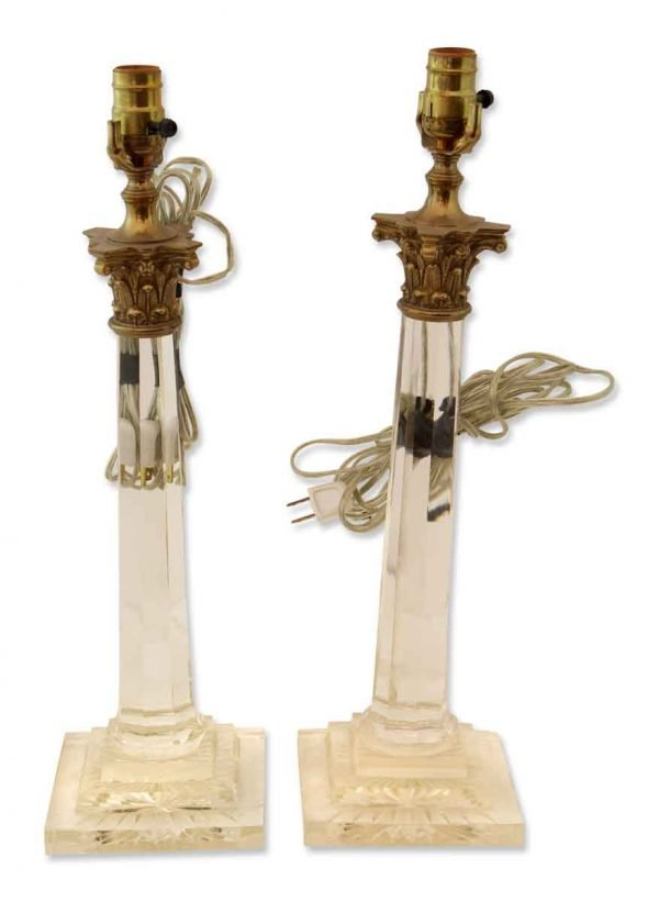 Pair of Small Art Deco Glass Lamps