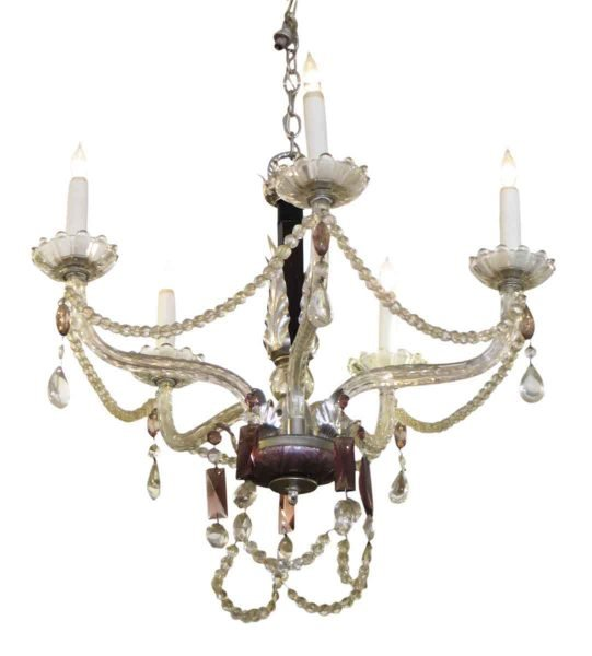 1930s Five Arm Chandelier with Black & Amethyst Crystal
