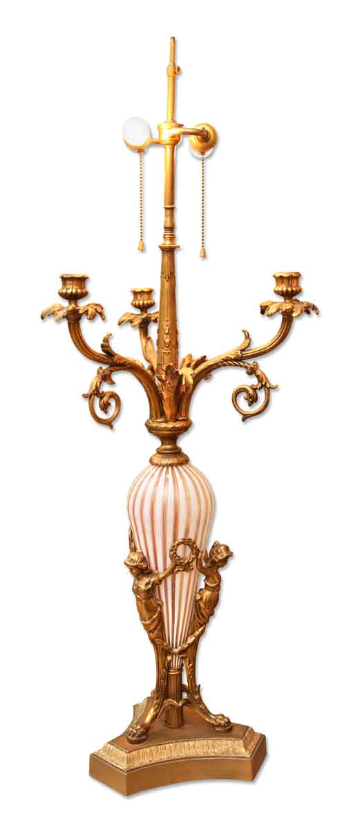 Signed Murano Lamp with Gilded Figures