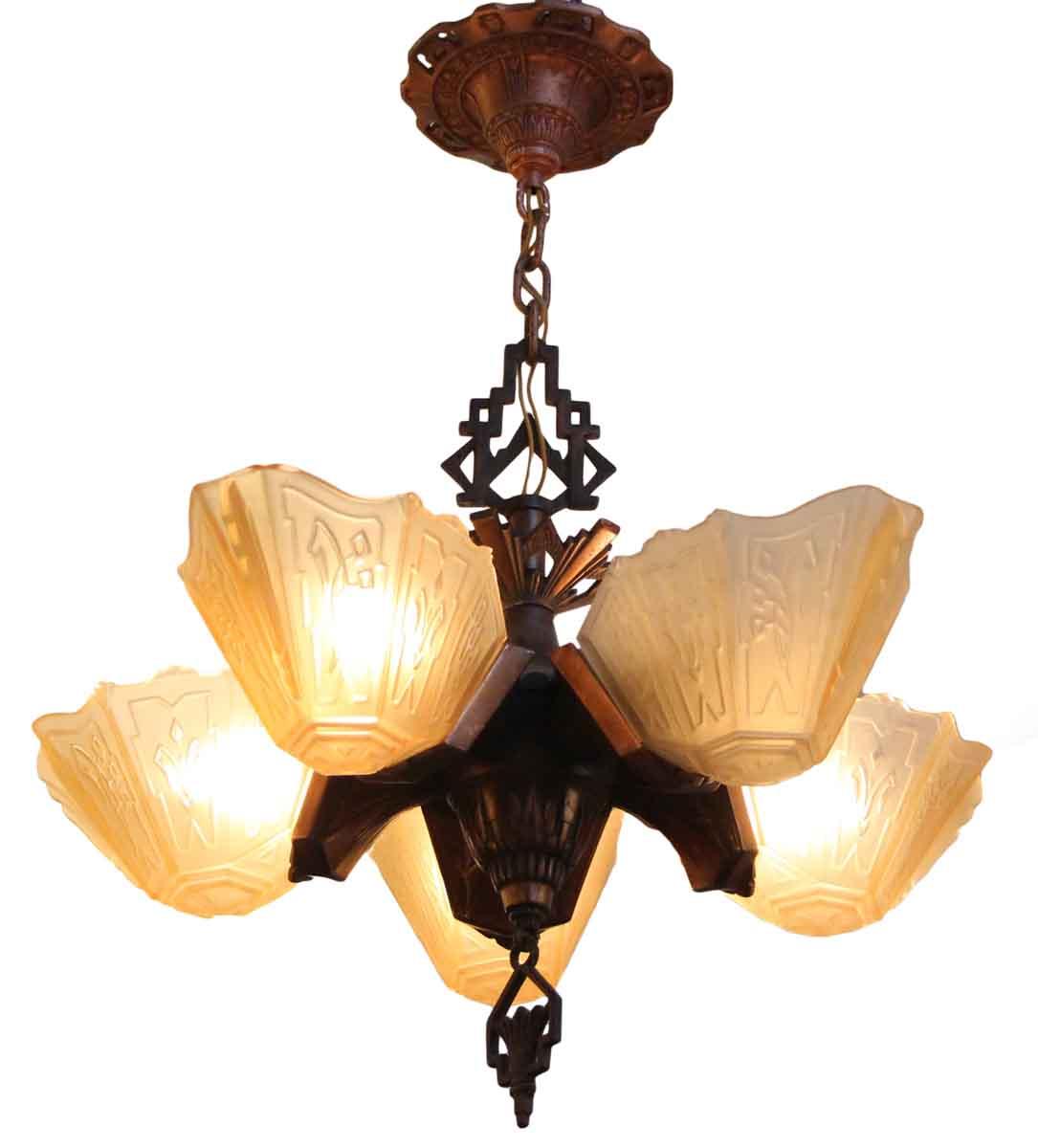 Art deco five slip shade chandelier olde good things art deco five slip shade chandelier aloadofball Gallery