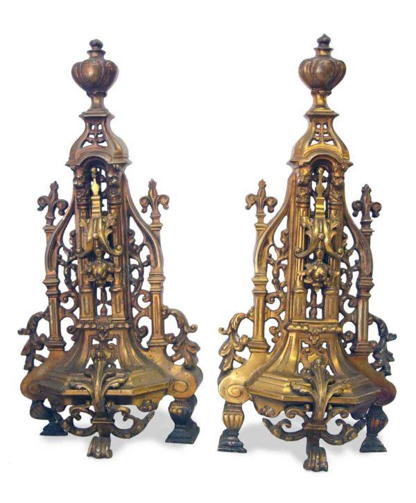 Unique Bronze Gothic Andirons