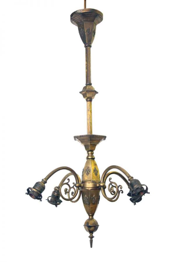 Four Light Brass Chandelier