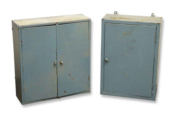 Pair of Blue Metal Wall Cabinets
