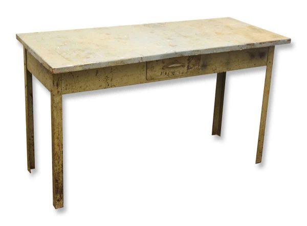 Low Steel Vintage Desk with Drawer