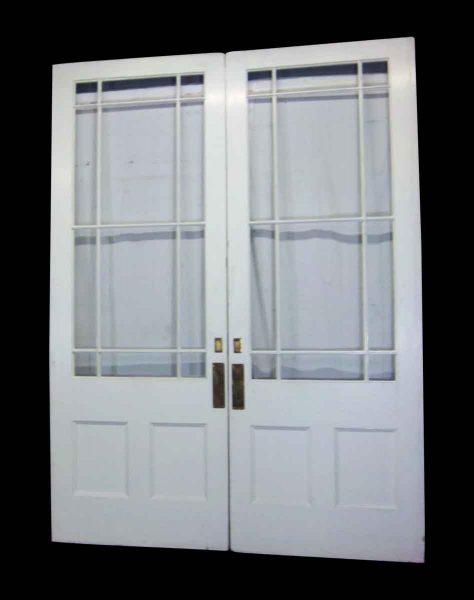 White Multi Panel Double Pocket Doors or Entry Doors