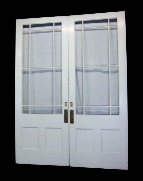 White Multi Panel Double Pocket Doors or Entry Doors