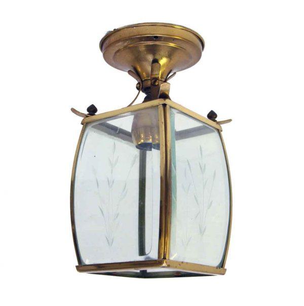 Etched Glass & Brass Light Fixture