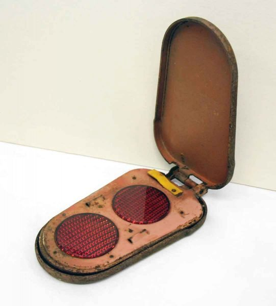 Vintage Glass Truck Reflectors in Iron Case