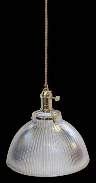 Antique Holophane Ribbed Glass Shade Fixture