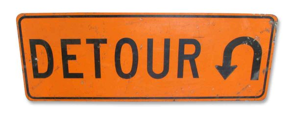 Antique Metal Detour Sign