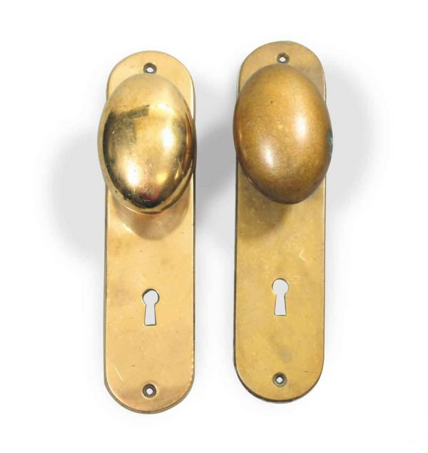 Antique Brass Oval Knob Set