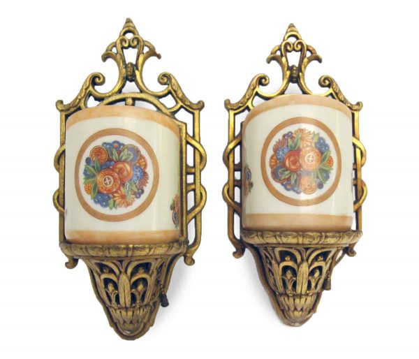 Set of Two Ornate Floral Sconces