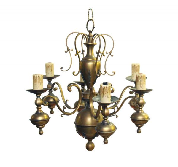 Brass Six Light Chandelier