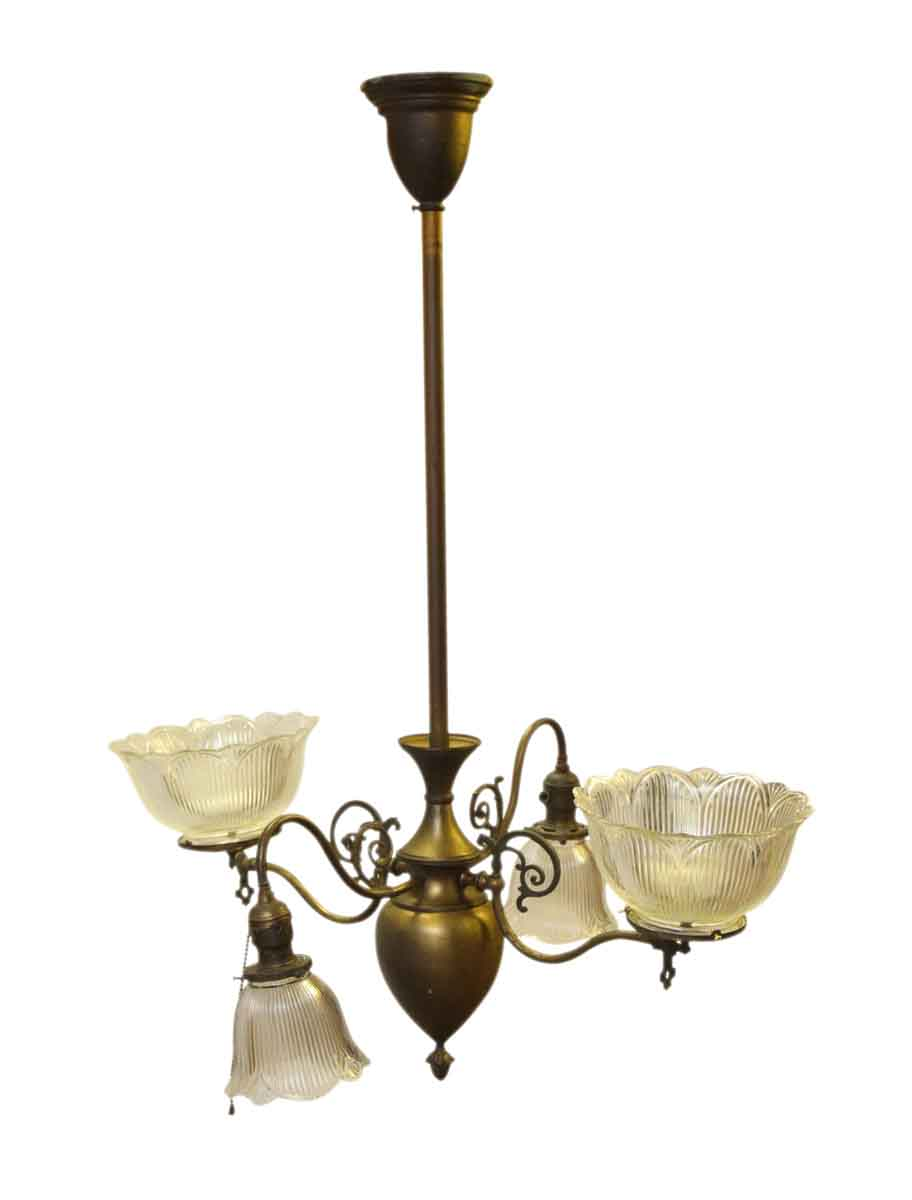 Antique gas chandelier from late 1800s olde good things antique gas chandelier from late 1800s aloadofball Image collections