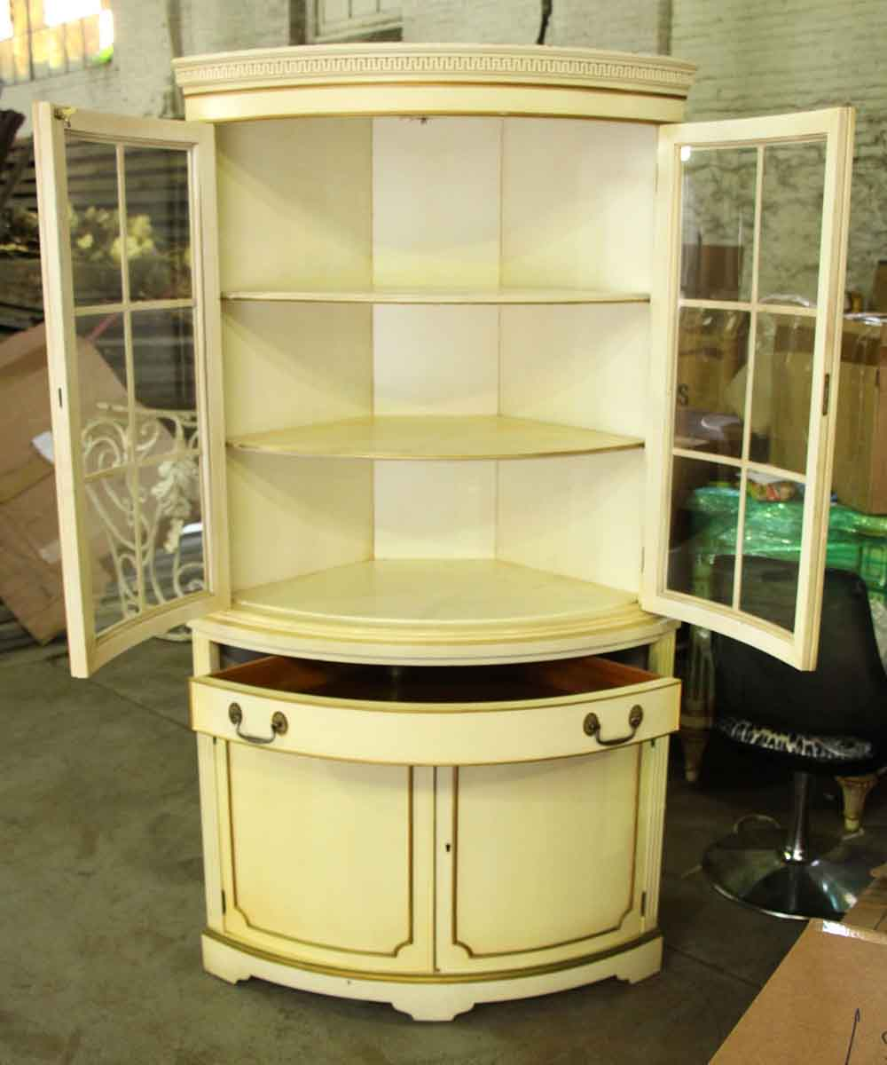 French Country Corner Cabinet with Curved Glass Front | Olde Good ...