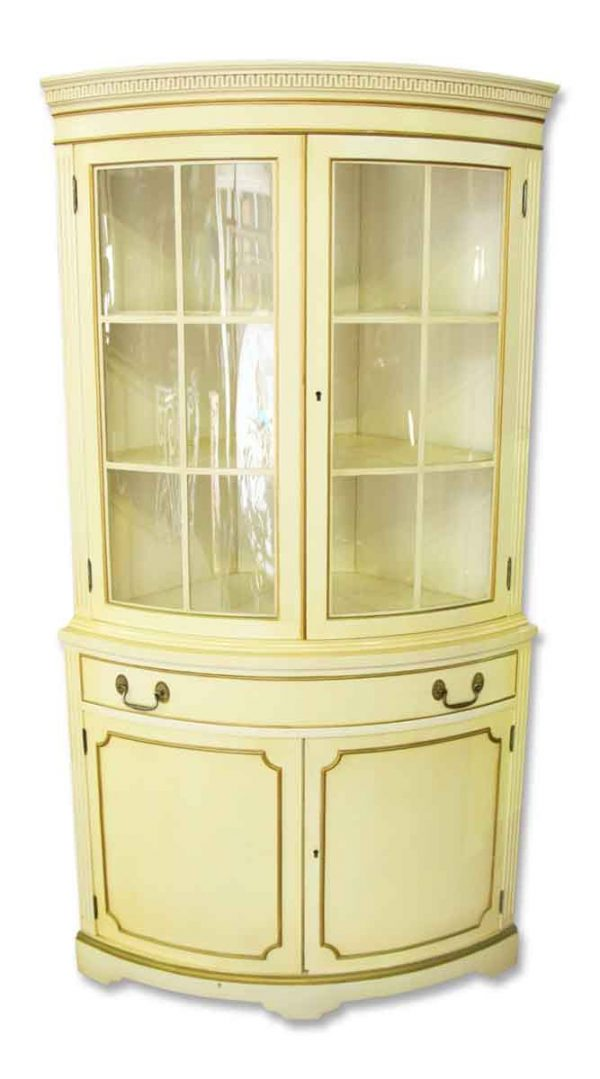 French Country Corner Cabinet with Curved Glass Front