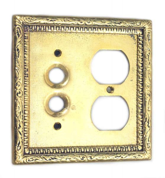 Gold Colored Duplex Outlet & Button Switch Cover