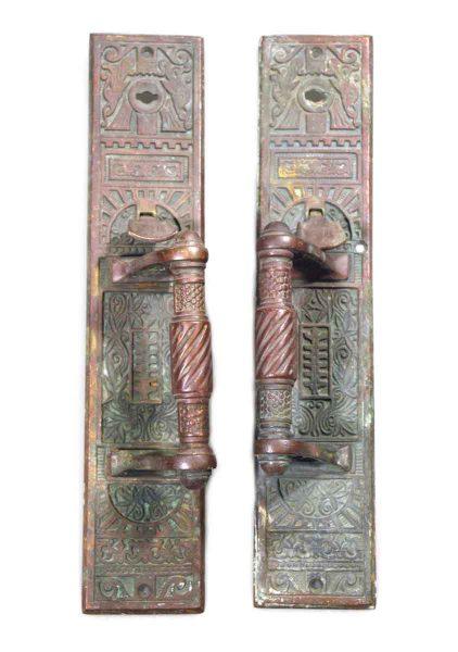 Pair of Bronze Aesthetic Ornate Door Pulls