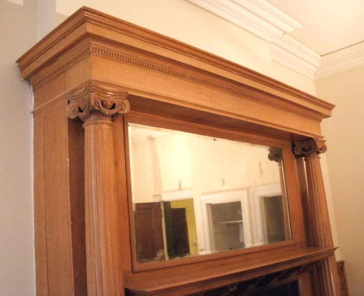 Oversized Oak Wood Mantel With Fluted Columns Olde Good