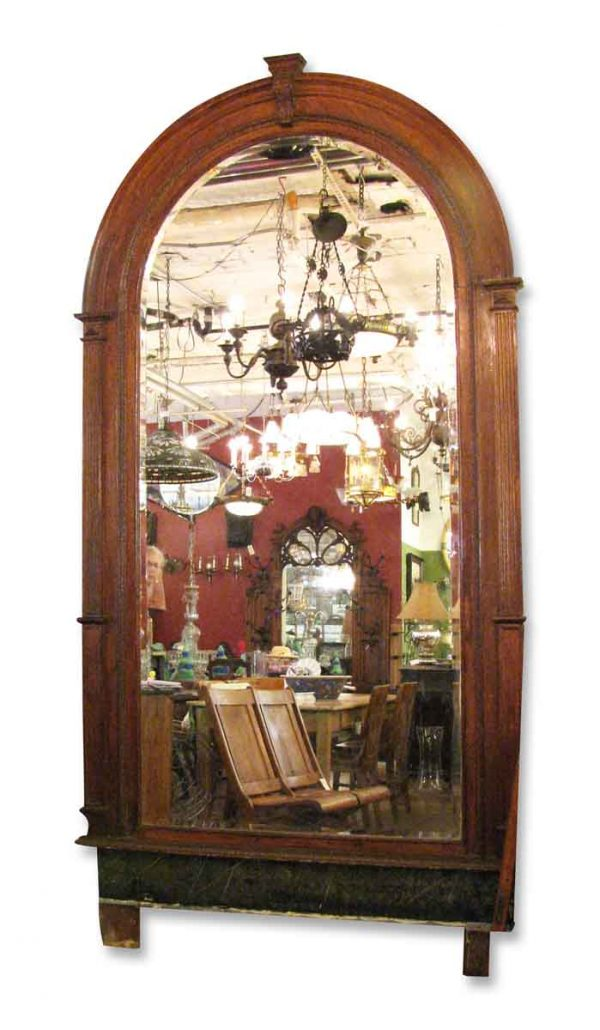 Arched Oak Wall Mirror