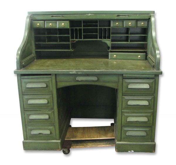 Oak Roll Top Green Desk