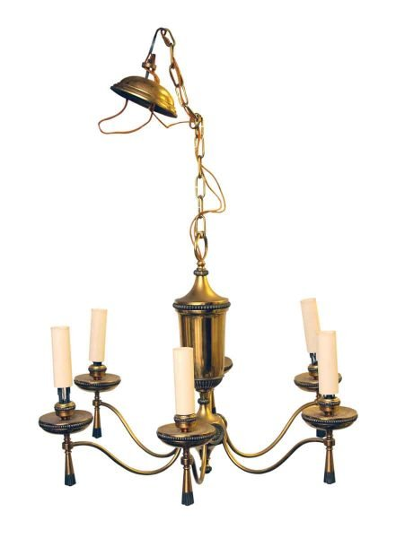 Six Light Brass Slender Arm Georgian Chandelier