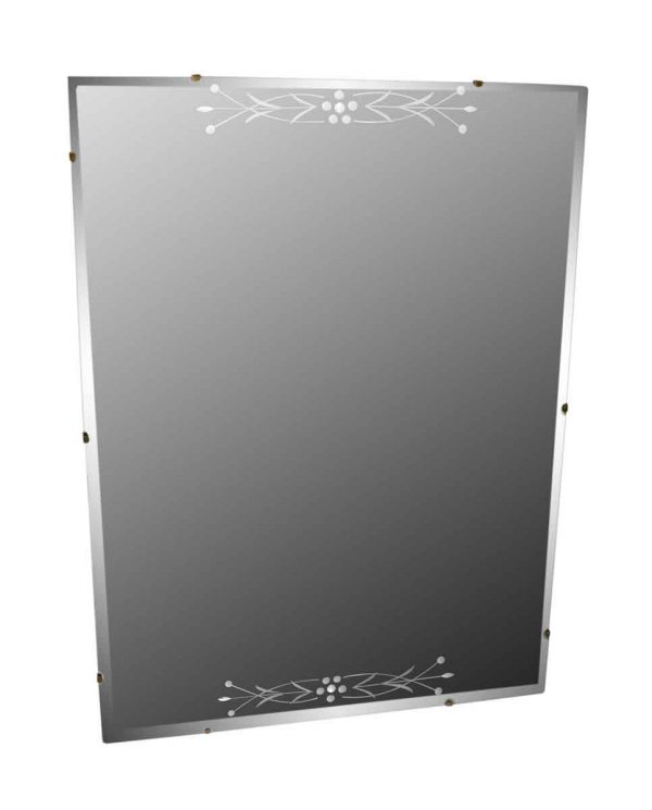Rectangular Etched Glass Frameless Mirror