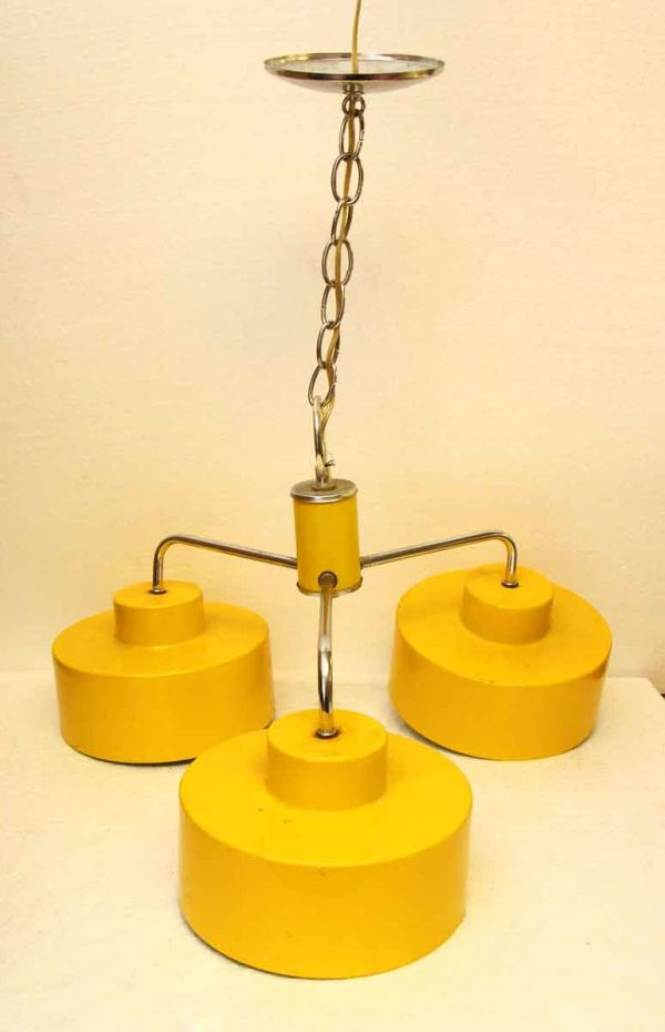 Yellow Enameled Metal 1970s Light Fixture