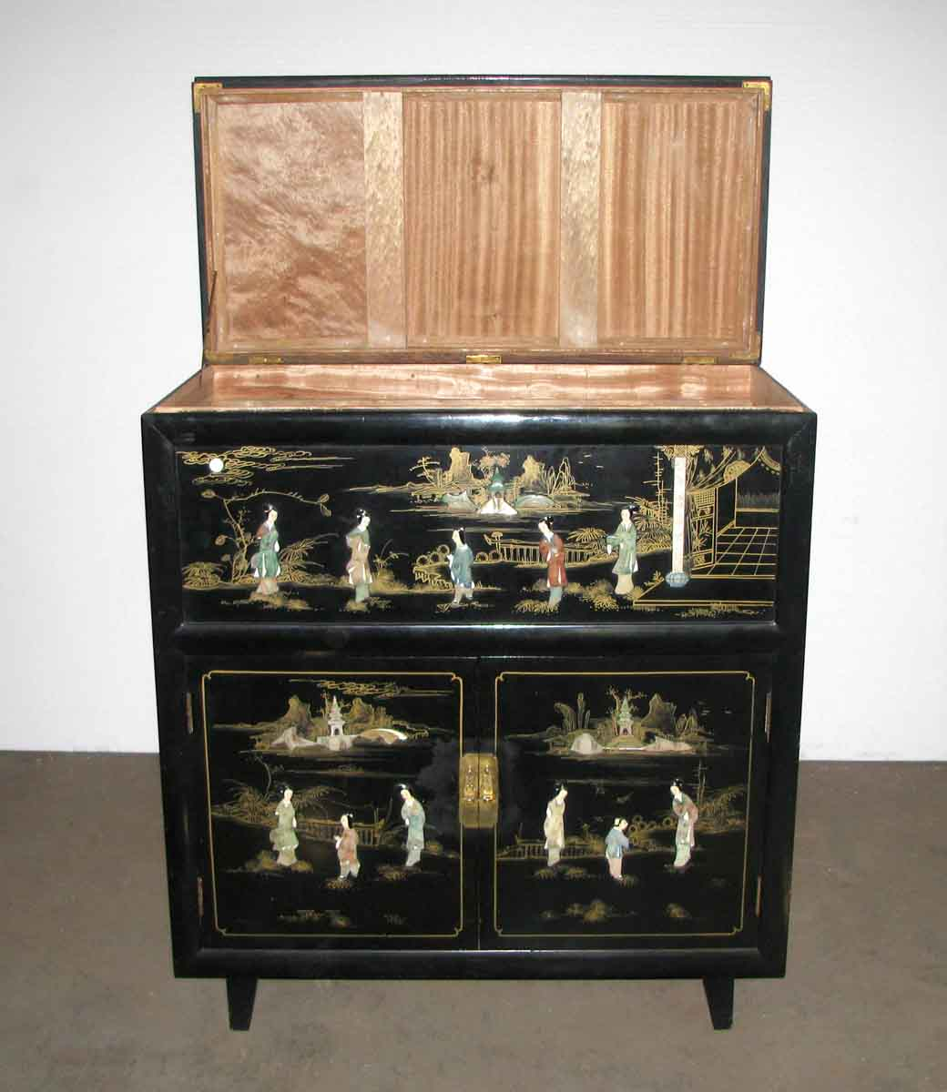 Oriental lacquered inlaid cedar chest olde good things for Oriental furniture warehouse