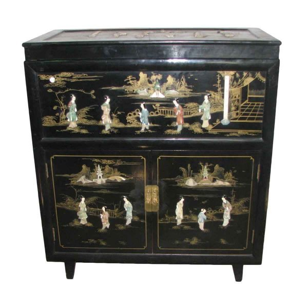 Oriental Lacquered & Inlaid Cedar Chest