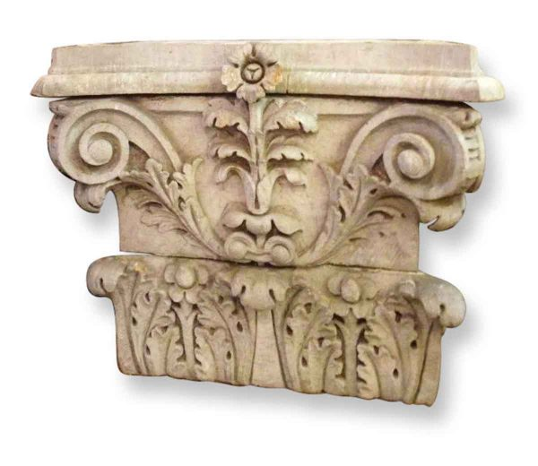 Carved Limestone Pilaster Capitols Make Beautiful Console Table