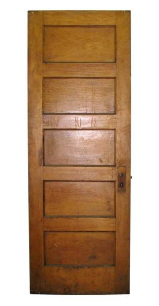 Wooden Door with Five Panels & Mint Colored Paint on One Side