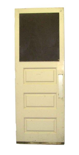 Wooden Door with Three Panels & White Paint on One Side