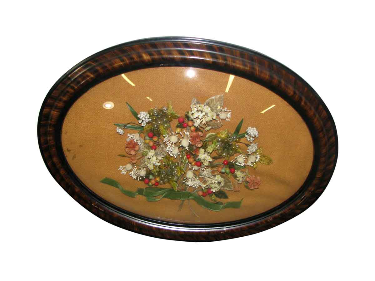 Oval framed floral arrangement hanging picture olde good things - Oval wall decor ...