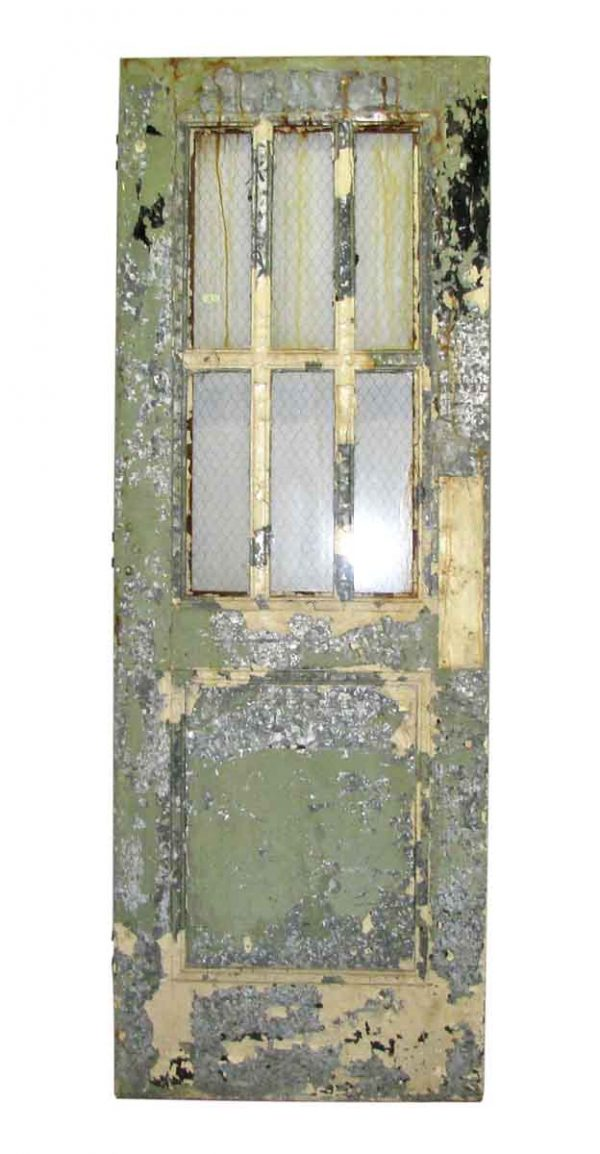 Metal Door with Seven Panels & Chicken Wire Glass