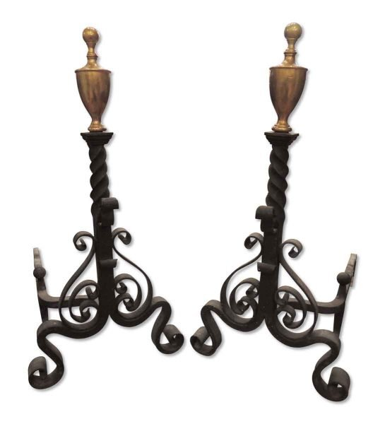 Hand Wrought Iron Andiron with Brass Finial