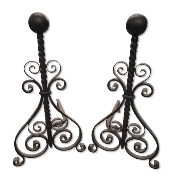 Wrought Iron with Ball Finial Andirons