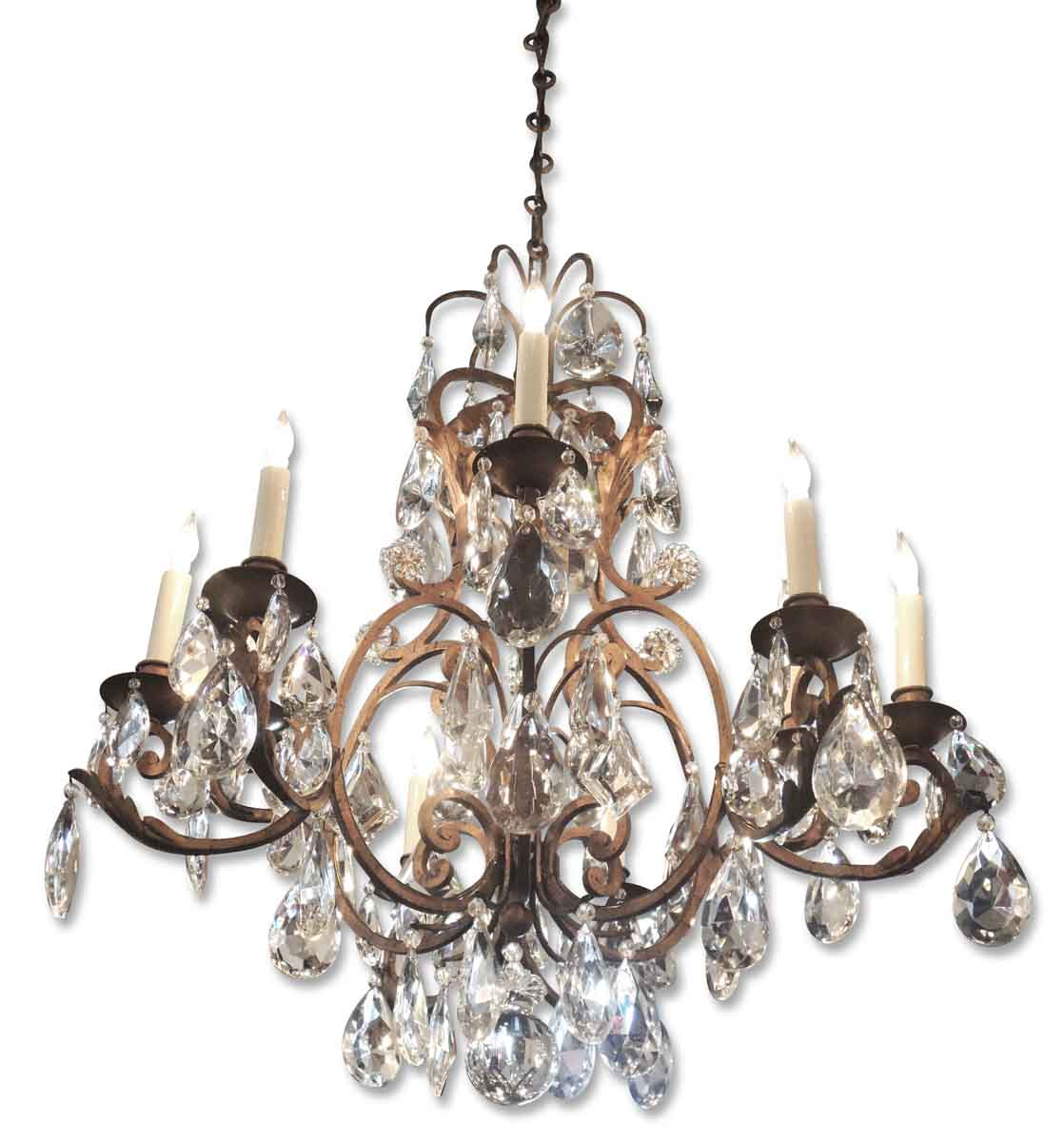 Crystal Chandelier Quality Types: French Iron Chandelier With High Quality Faceted Crystals